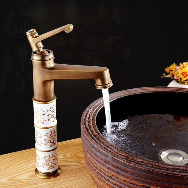 BOCHSBC European Deck Mounted Bathroom Faucet Retro Ceramic Faucets Hot And  Cold Water Single Handle Sink Porcelain Mixer Tap