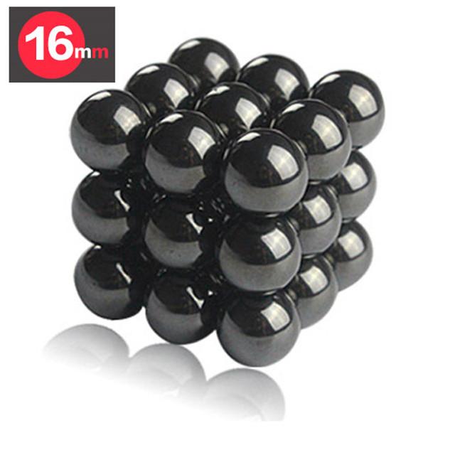 27 unids 16mm Negro Bolas Magnéticas Esferas Big Beads Bloque Imanes Rompecabezas Cubo Mágico Cubo Mágico Regalo de Cumpleaños