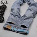 6 EXTRA GRANDES calças de Brim dos homens Marca de Algodão de Alta Qualidade Fina seção Temor de deus Homens Jeans Jeans Moda Casual Reta Calça Jeans Motociclista