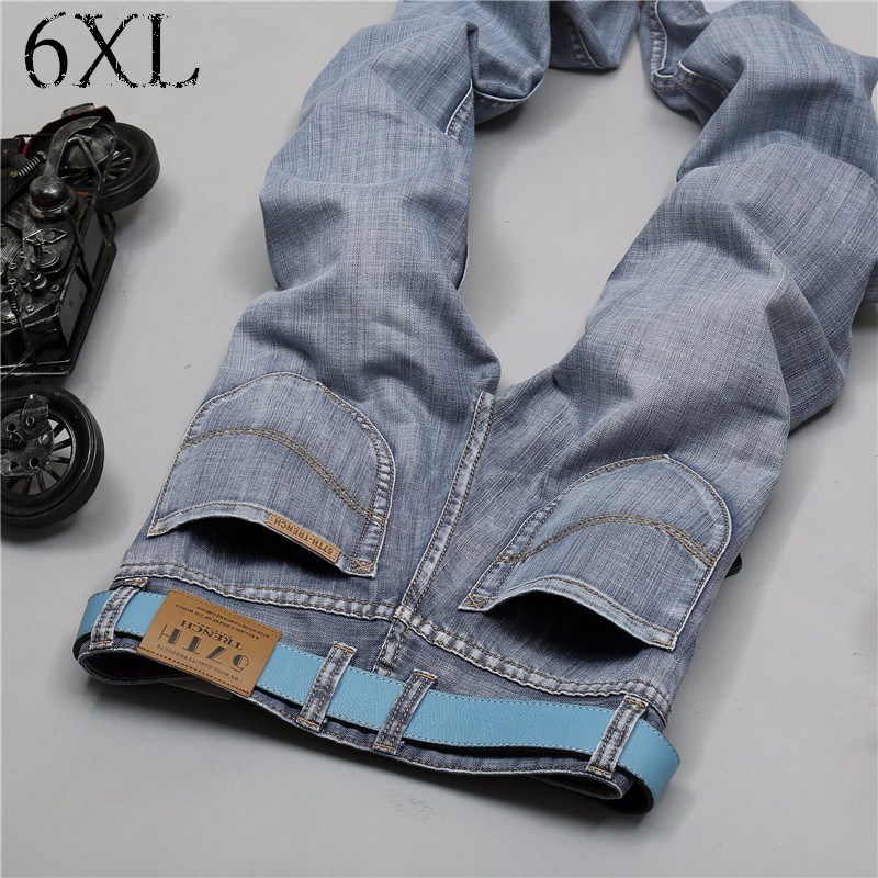 6 EXTRA LARGE Men's Jeans High Quality Cotton Brand Thin section Jeans Casual Straight Fashion Fear of god Jeans Men Biker Jeans kcchstar the eye of god high quality 316 titanium steel necklaces golden blue