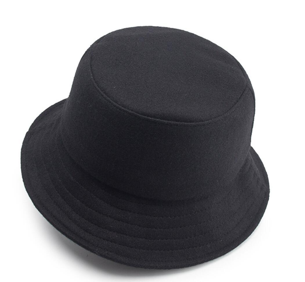6pcs New Plain Wool Felt Bucket Hat For Autumn Winter Men