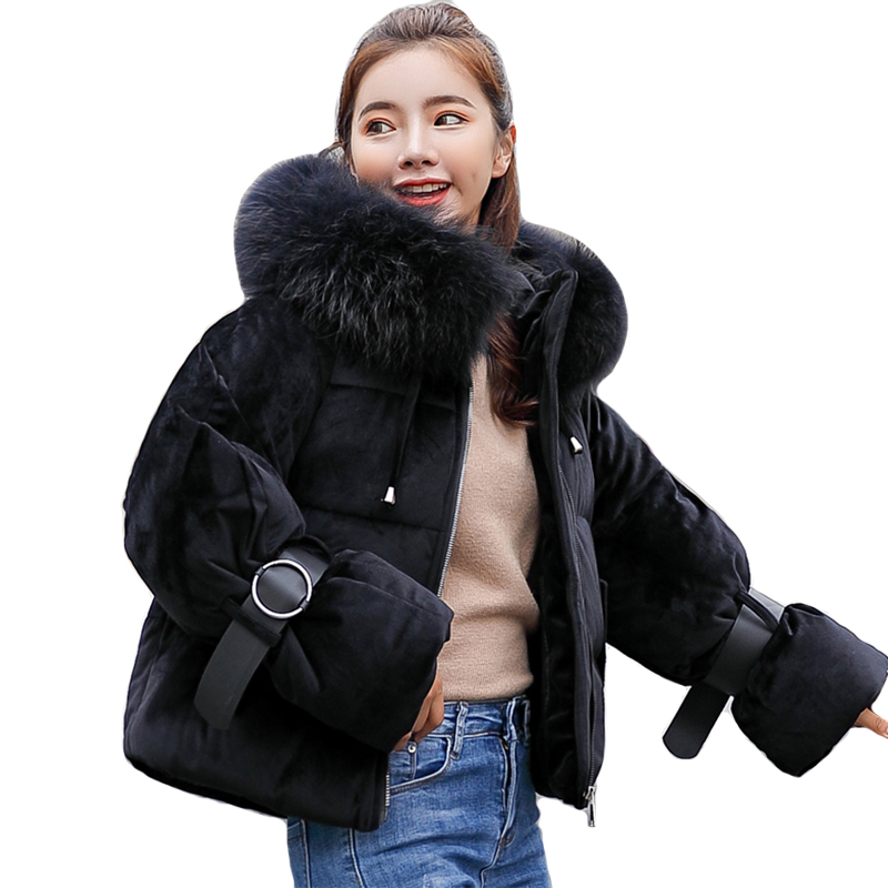 2019 New Arrival Women Winter Jacket Velvet Fabric With Fur Hooded Coat Short Outwear Sweet Padded   Parka   Casaco Feminino Inverno