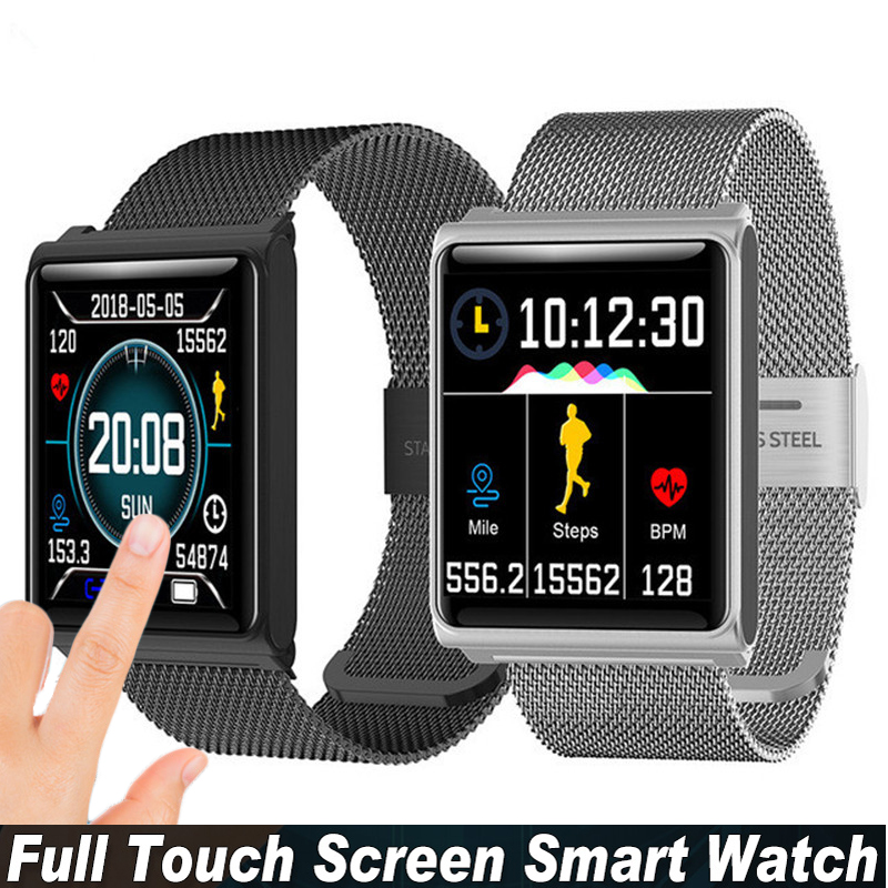 Unisex Luxury Smart Watch Women Touch Screen HR Monitor Pedometer Fitness Tracker Sport Watch For Android IOS Reloj Deportivo
