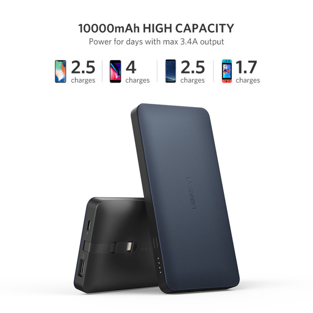 Ugreen Power Bank 10000mAh For iPhone X 7 Xiaomi External Battery Pack Powerbank For USB iPhone Cable Portable Charger Poverbank 3