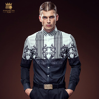Free Shipping New casual male Men's man 2016 black and white mosaic long sleeved slim autumn DP printing Shirt 612119 FanZhuan