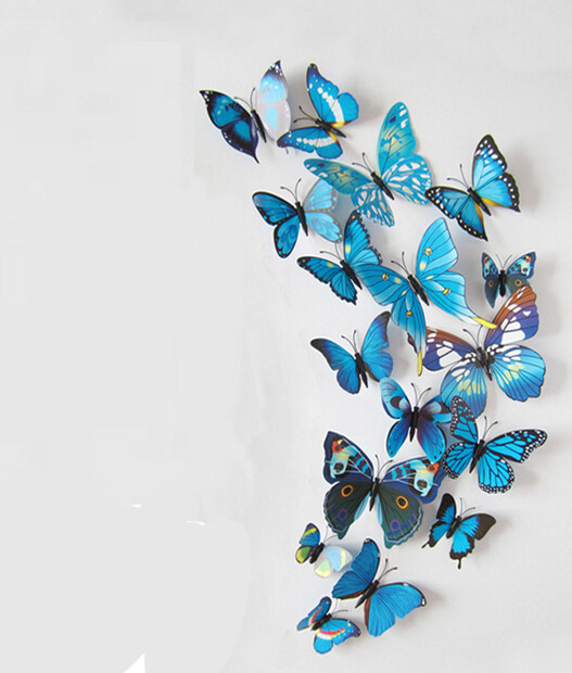 Vinyl 3D Blue Butterflies For Wall Art Decal Removable Home Decoration DIY Beautiful Wall Stciker Home Decor