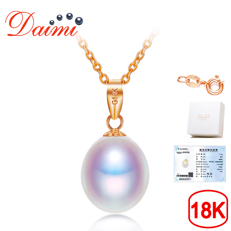 DAIMI 18K Rose Gold Necklace 8-9mm Freshwater Pearl Pendant Necklace 18K Genuine Gold Chain Pearl Jewelry with Certificate Box yoursfs 18k rose white gold plated letter best mum heart necklace chain best mother s day gift