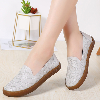 цены AARDIMI Floral Women Genuine Leather Shoes Summer Shallow Slip On Female Flat Shoes Cut-outs Women's Loafers Mocassin Femme