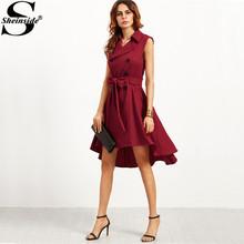 Sheinside Elegant Dress Women Clothes Vintage Dresses Burgundy Double Breasted Belted Sleeveless Trench Dress