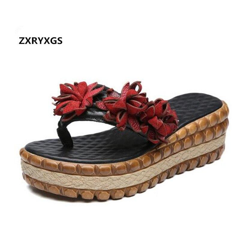 2019 New Summer Genuine Leather Flip Flops Women Shoes Handmade Flower Fashion Sandals Thick bottomed Platform