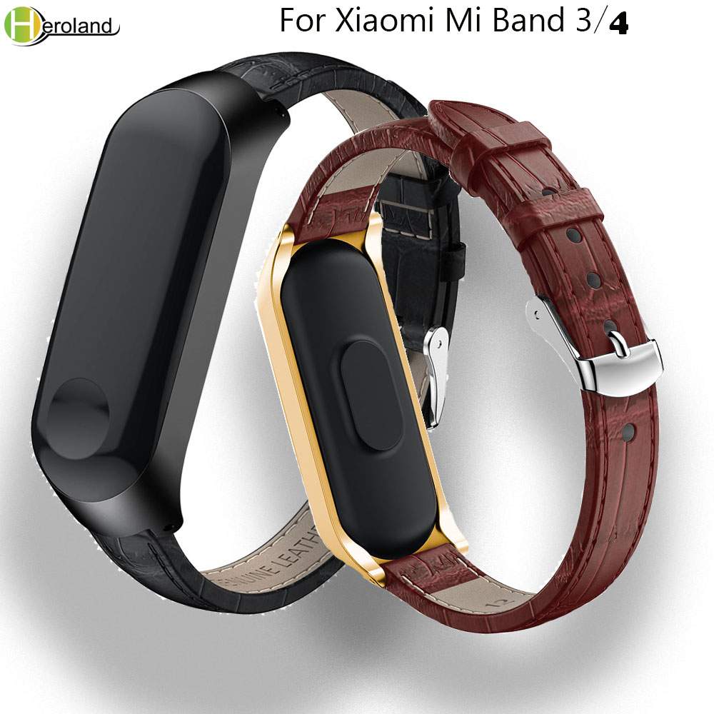 Leather Strap For Xiaomi Mi Band 3 Smart Band Wristband Strap Accessories For Xiaomi Mi Band 4 Bracelet Sport+Metal Case Cover