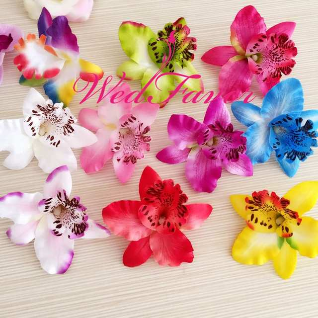 100pcs 8cm Artificial Silk Fabric Phalaenopsis Orchid Flower Heads