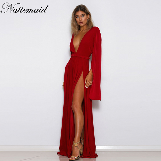 NATTEMAID Empire Red Black Elegant Dress Women Maxi Long Sexy Casual Party  Prom Vestidos Summer 2018 3e313af2a9cc