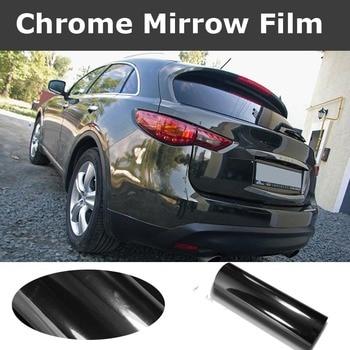 Premium Black Chrome Mirror Vinyl Wrap High Stretch With Air Bubble Free Flexible Chrome Black Film Car Wrap Size:1.52*20M/Roll