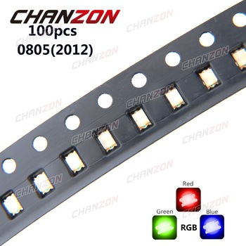 100pcs SMD 0805 (2012) RGB Tricolor 20mA Red Green Blue Ultra Bright Surface Mount LED Chips Common Anode Light Emitting Diode