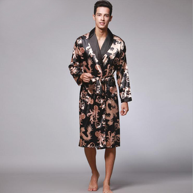 Hot Sale Fashion New Black Chinese Men s kaftan Robes Traditional Male  Dragon Sleepwear Nightwear Kimono With Bandage Wholesale 870f02028