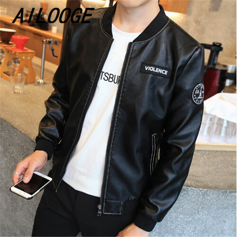 7af4a3340a85 Plus Size PU Leather Motor Jacket Male 2016 Autumn New Korean Style Youth  Slim Short Coat Men Thin Motorcycling Clothes 4XL-in Faux Leather Coats  from Men s ...