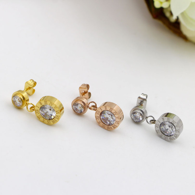 Tyme Stainless Steel Rome Single Stone Stud Earrings Female Fashion Trendsetter Anium Hypoallergenic Gold Jewelry
