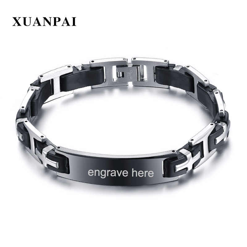 XUANPAI 12mm Stainless Steel ID Bracelet for Men Silicone Identification Bangle Male Jewelry Free Engraving
