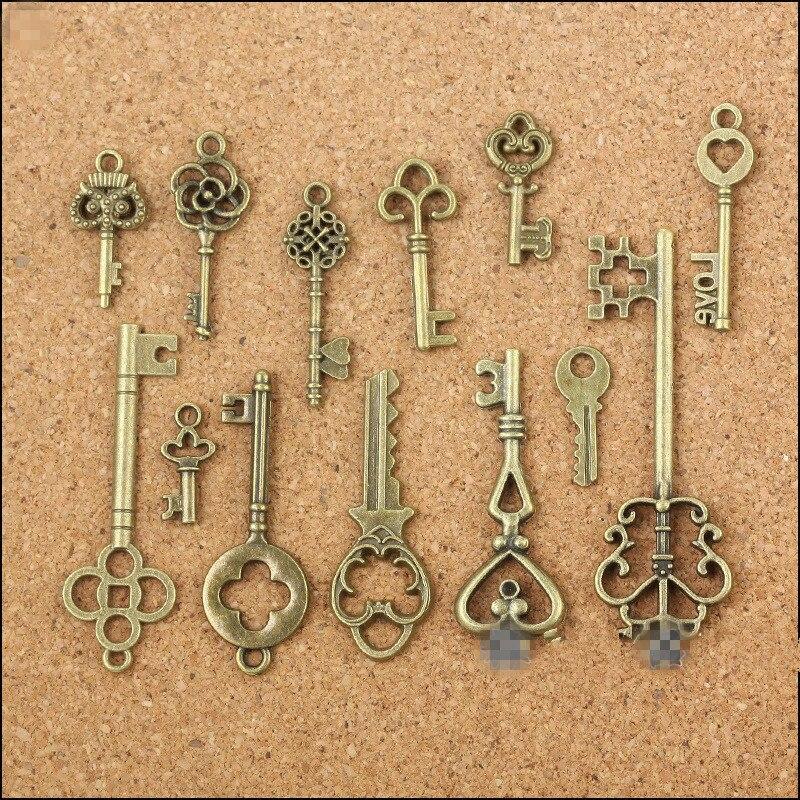 New 13 Assorted Antique Vintage Old Look Bronze Pendants Vintage Key Collectibles Good Gift