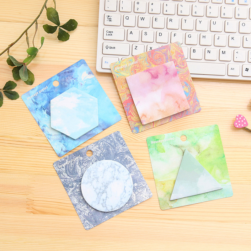 1Pack Stone Texture Geometric Shapes Sticky Post It N Times Message Posted Memo Pad School Stationery Label Gift E0183