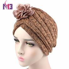 2017 Winter Fashion Women Knit Twist Turban Headband Thick Wool inside Warmer Chemo Headwear Ladies Hijab Turbante with Flower