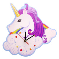 1Piece Unicorn Wall Clock Personalised Time Clock Gift For Girls Nursery Unicorn and Rainbow Kids Bedroom Decor Magic Clock