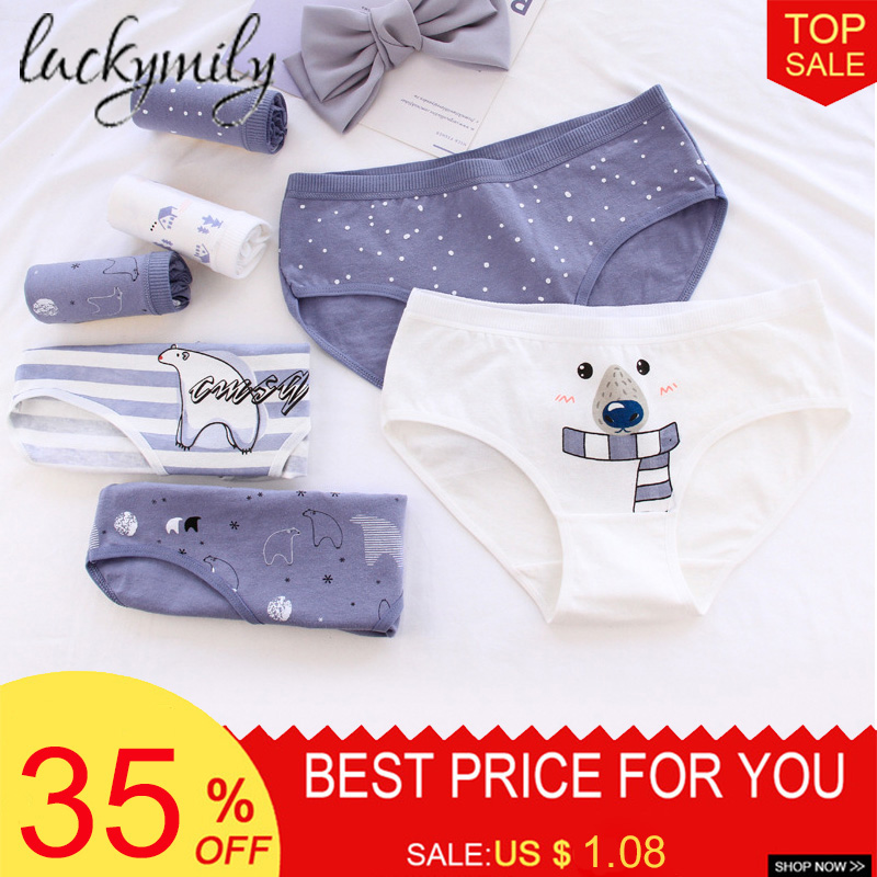 Luckymily Bear Pattern Cotton Women Panties Cotton Underwear Women Briefs Lingerie Thongs Seamless Underpants Women's Intimates(China)