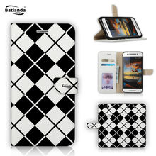 Tartan Check Pattern Cases For Huawei Mate 8 6 inch Case Book Style PU Leather Wallet