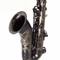 Ручной резные цветы черный никель покрытием саксофоны Alto латунь Музыкальные инструменты Eb Мелодия Sax с чехлом и мундштук Прихватки для манг