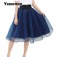 Hot Sale 2016 Trend Summer Style Skirts Bust Tulle Skirt Chiffon High Waist Tutu Skirts Womens