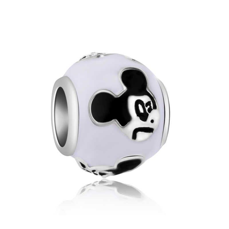 Alta Qualidade Grande de Cristal Corações Osso Estrela Mickey Mouse Beads Encantos Fit Pulseiras Pandora DIY Pulseiras para As Mulheres Bijuterias Femme
