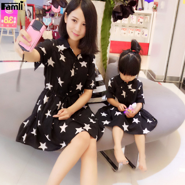 04be1f89b29 Famli 1pc Mother Daughter Matching Dress 2017 Summer Family Dad Son Fashion  Star Print Short Shirt Outfits Mommy Me Dresses Set