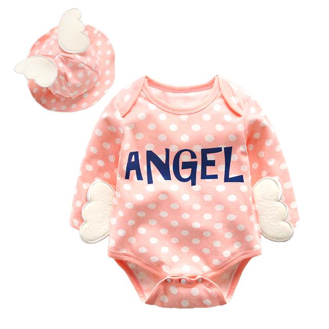 Roupas infantis roupas triângulo de manga comprida romper do bebê do algodão