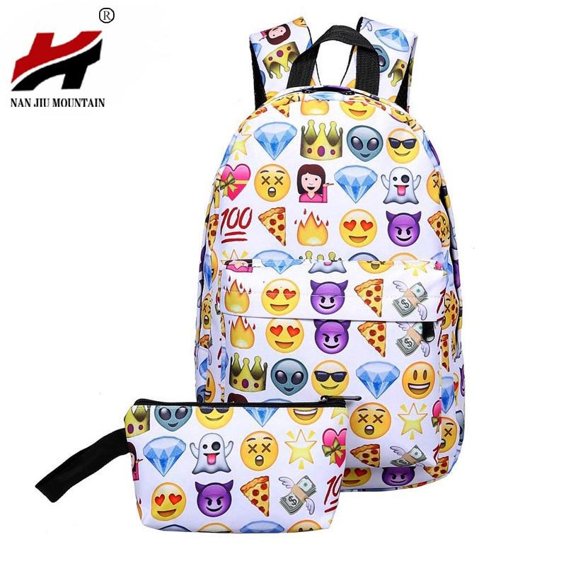 2016 Leisure Waterproof Nylon Travel Backpack 3D Smiley Emoji Face Printing School Bag for Teenage Girls