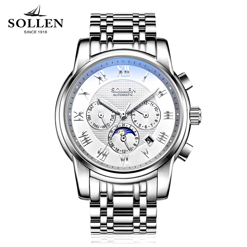 Men Watches Top Brand Luxury SOLLEN Automatic Mechanical Watches Moon Phase Steel Clock Mens Wristwatches Relogio Masculino sollen mens watches top brand luxury high quality steel automatic mechanical watch classic men fashion clocks relogio masculino