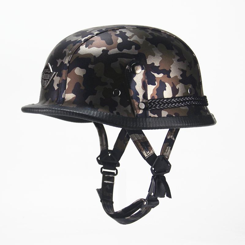 FREE SHIPPING German Harley WWII Style Open Face Half Leather Helmet Harley Moto vintage Motorcycle Motorbike Vespa camouflage