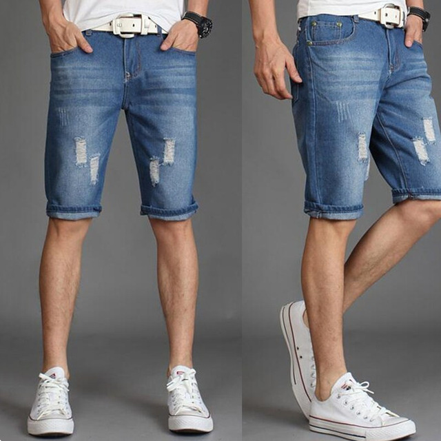 New 2019 casual Cotton Denim Fashion shorts Summer short   jeans   Pants Casual Men Solid Belt zipper Light blue and dark blue