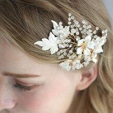 Floralbride Handmade Alloy Crystal Rhinestone Pearls Wedding Hair Clip Barrettes Bridal Headpiece Hair accessories Women Jewelry цена