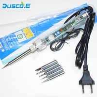 220 V Enchufe europeo 60 W ajustable temperatura constante sin plomo calefacción interna Kit de soldador eléctrico + 5 pinzas de Punta piezas punta
