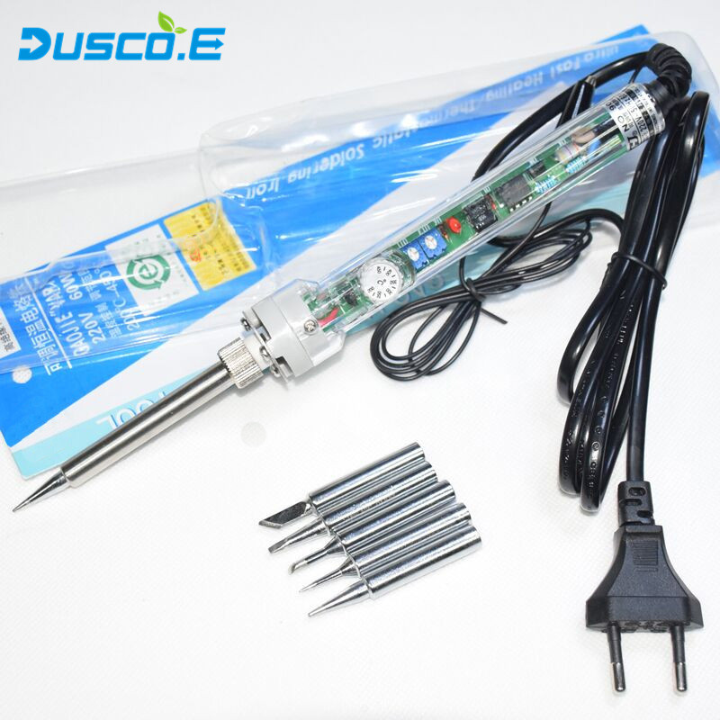 220V EU Plug 60W Adjustable Constant Temperature Lead-Free Internal Heating Electric Soldering Iron Kit +5Pcs Tip / Tweezers
