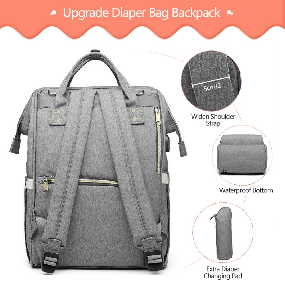 LEQUEEN Mummy bag USB Diaper Bag Baby Care Large Capacity Mom Backpack Mummy Maternity Wet Bag Waterproof Baby Pregnant Bag
