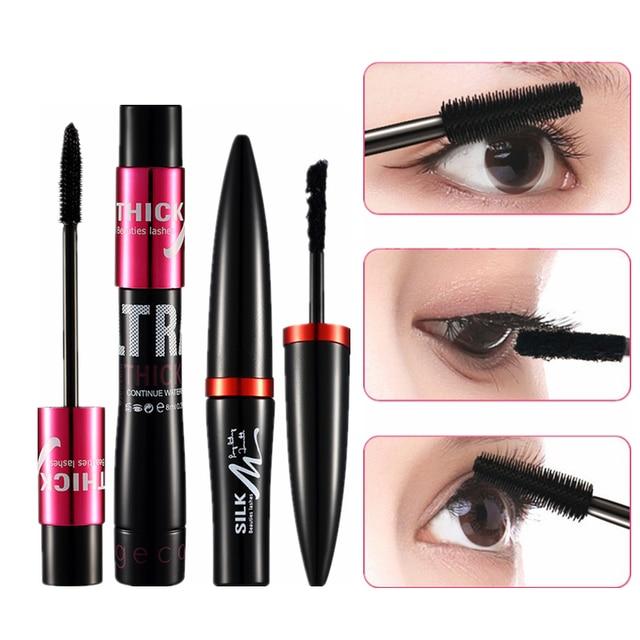 ac20e4a31b6 2 Pcs/set Mascara 4D Silk Fiber Eyelash Volume Lengthening Black Eye Lashes  Extension Makeup Ink Rimel Waterproof Mascara Kit