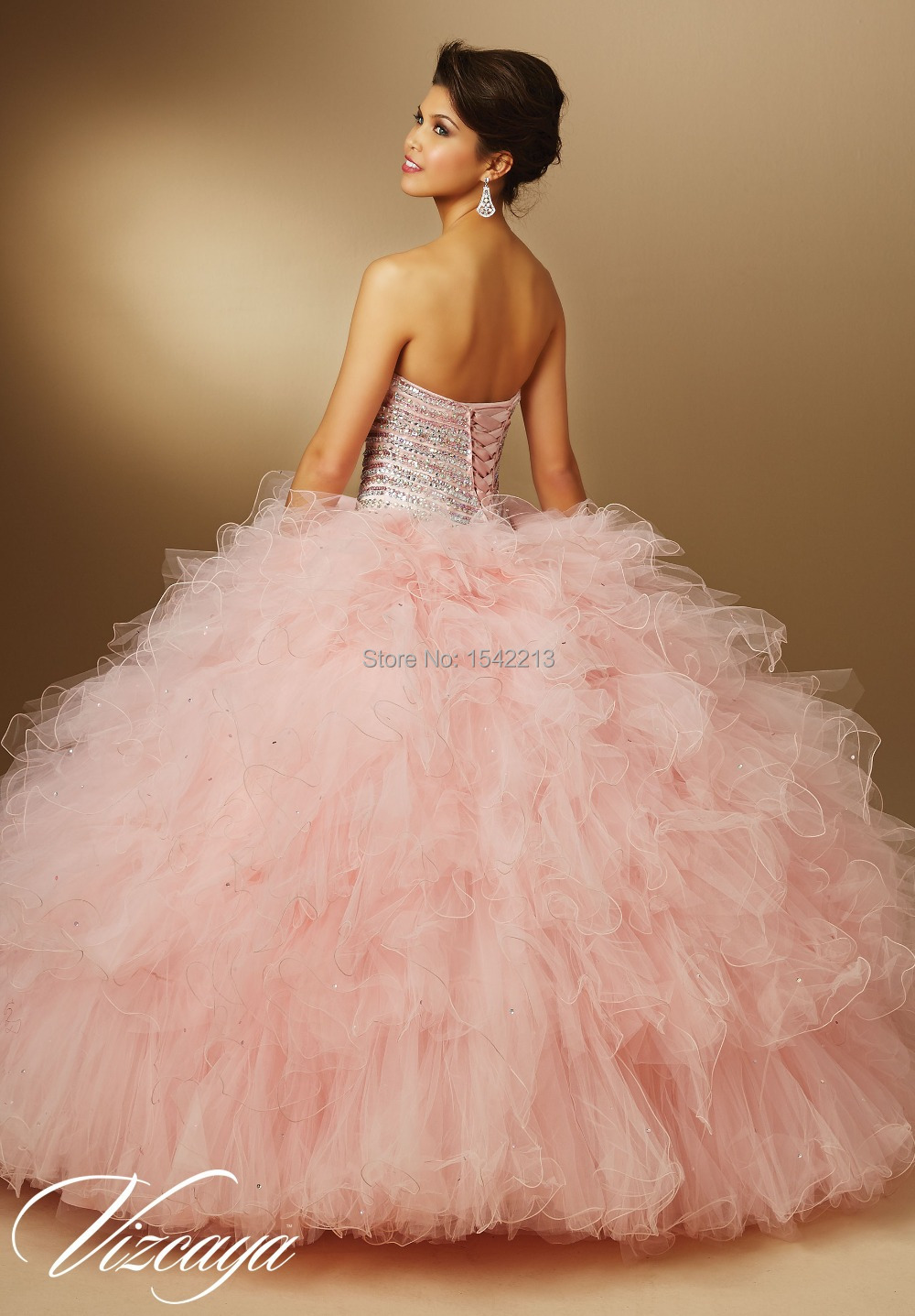 Aliexpress.com : Buy Sparkle Crystals Ruffled Long Strapless Ball ...