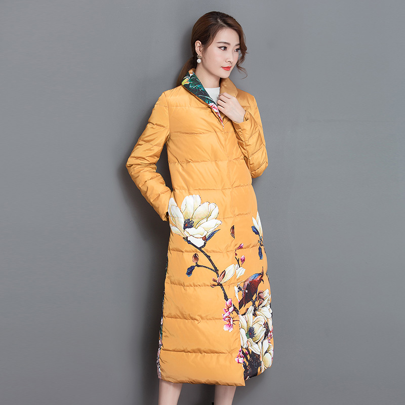 Wholesale Women Down Jacket Big Size Long Printed   Parkas   2019 Winter Women's Quilted Coat Outwear Clothing Duck Down Jackets