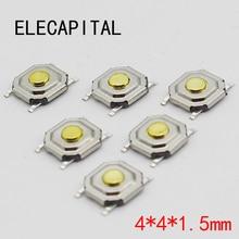 100 قطعة/الوحدة SMD 4*4*1.5 مللي متر 4X4X1.5MM اللمس اللباقة دفع زر التبديل الجزئي لحظة