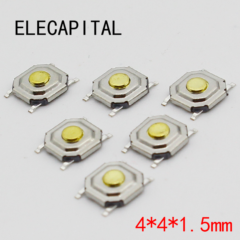 100PC/Lot SMD 4*4*1.5MM 4X4X1.5MM Tactile Tact Push Button Micro Switch Momentary 50pcs lot 6x6x4 3mm 4pin smt g88 tactile tact push button micro switch self reset dip top copper free shipping