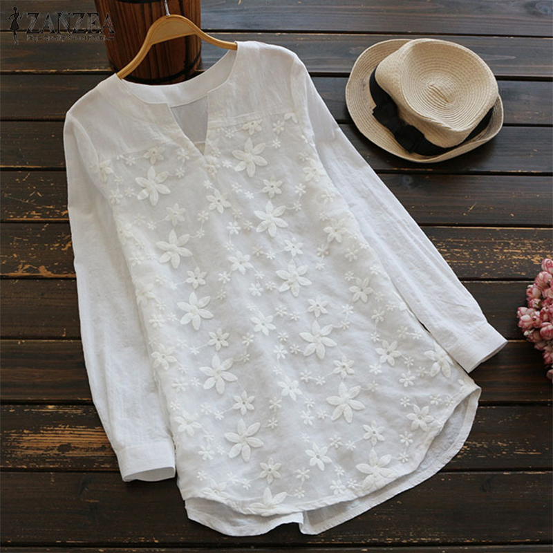 ZANZEA 2018 Summer Women V Neck Embroidery Blouse Autumn Elegant Lace Patchwork Long Sleeve Shirt Loose Top Work Blusa Plus Size