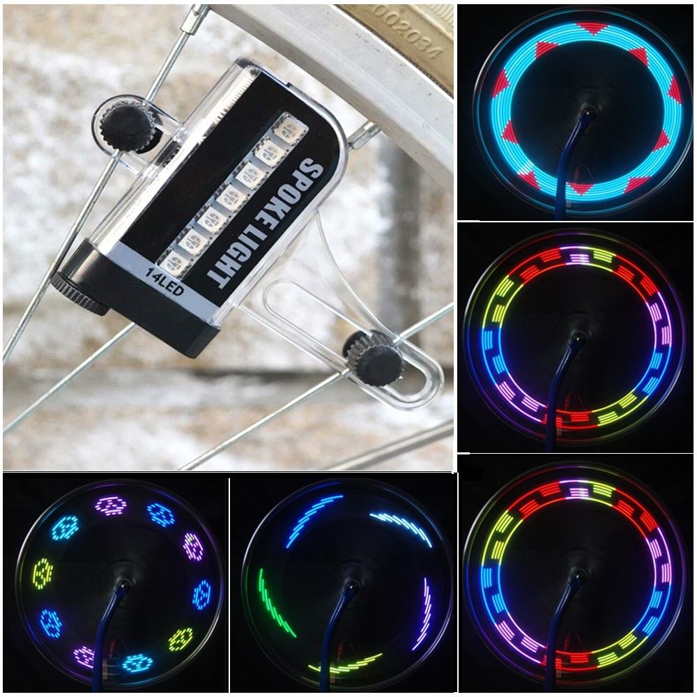 Hot! 14 LED Wheel Signal Lights Colorful Rainbow Riding Bikes Bicycles Cycling Fixed on  ...