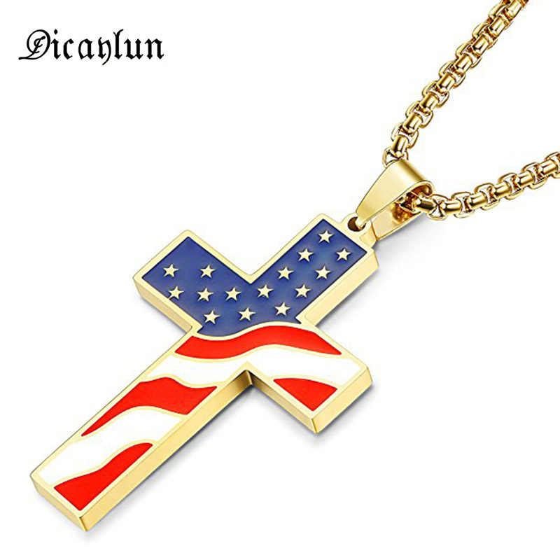 "DICAYLUN האמריקאי ארה""ב דגל שרשראות זהב צלב תליון נירוסטה אמייל ישו דת תכשיטי קמע מתנות נוצריות"